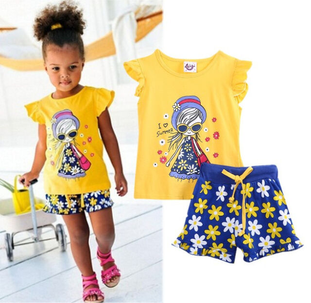 2015 Baby Kids Girls Summer Clothing Tops T-shirt Floral Shorts Outfits set 2~7Y