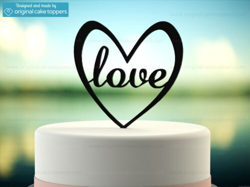 """Made by OriginalCakeToppers Wedding Cake Topper /""""Love/"""" Heart Shapped Black"""