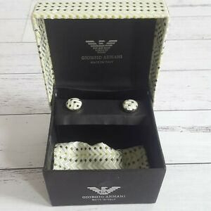 Giorgio-Armani-Boxed-Cufflinks-amp-Pocket-Chief-Tie-Missing