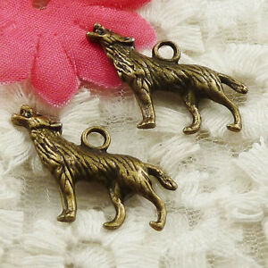 #4637 free ship 42pcs bronze plated wolf charms 27x16mm
