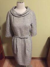 Michael Kors Silver Gray Metallic Tweed Belted Retro Dress 8 Excellent