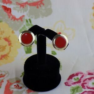 Vintage Gold Toned Clip On Earring Round Red Enamel Used