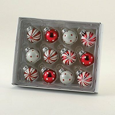 12 Christmas Tree Ornaments Polka Dot & Peppermint Stripe Glass Ball Xmas decor