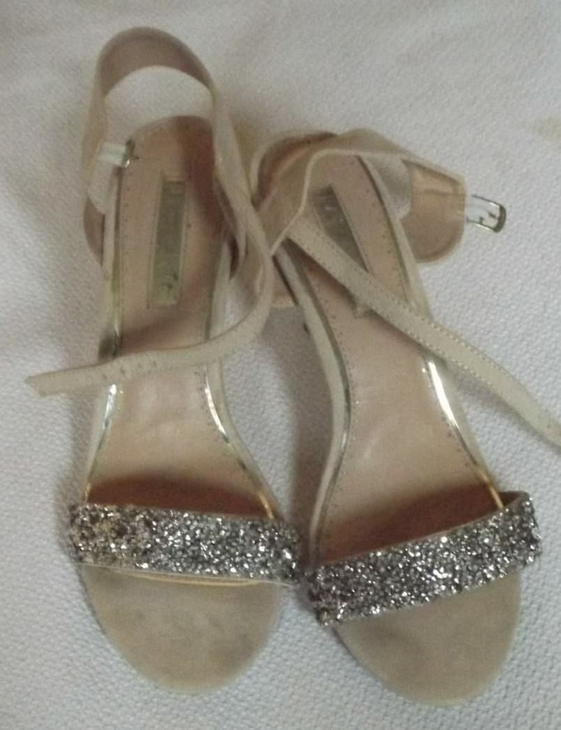 KURT GEIGER MISS KG POISON UK 6 JEWELS EU 39 SILVER SPARKLY JEWELS 6 NUDE BEIGE SANDALS ff1ceb