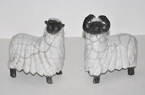2-Moutons-Shetland-sculptures-en-ceramique-Raku-de-Jill-Ratel-16cm