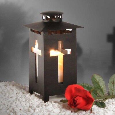 Grablaterne Grablampe Metall schwarz mit Kreuz 9x9x16cm