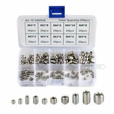 200 Pieces Hex Socket Set Screws Assortment Kit Metric M3 M4 M5 M6 M8 Screw Set
