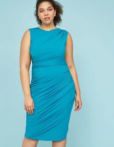 Lane-Bryant-Built-In-Smoothing-Slip-Ruched-Sheath-Dress-18-22-24-26-28-2x-3x-4x