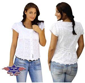 Damen Western Country Stripes »virginia« amp; Bluse Westernbluse Sexy Stars Weiß OdxPZZw5Eq