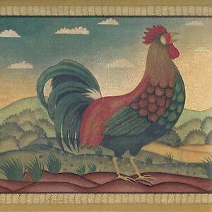 Image Is Loading Folk Art Roosters Wallpaper Border Golden Farm Hills