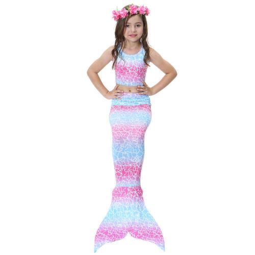 3pcs Kids Girls Mermaid Tail Swimwear Bikini Swimsuit Swimmable Swimming Costume