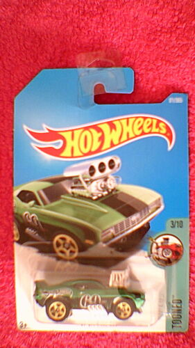 "#171 /""Tooned/"" /'69 Camaro Z28 Hot Wheels US Card Metallic Green /& Black"