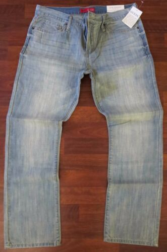 NEW Guess Slim Straight Leg Jeans Mens Size 38 X 30 Blue Distressed Light Wash