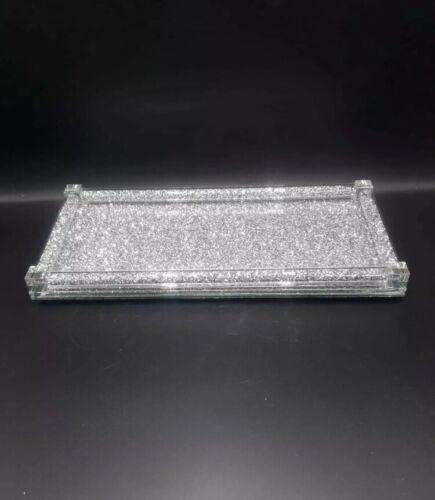 placement ou serving tray Nouveau Argent Toutes écrasées Crystal Miroir Plateau