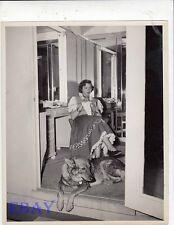 Gene Tierney knits candid 1950 w/dog VINTAGE Photo
