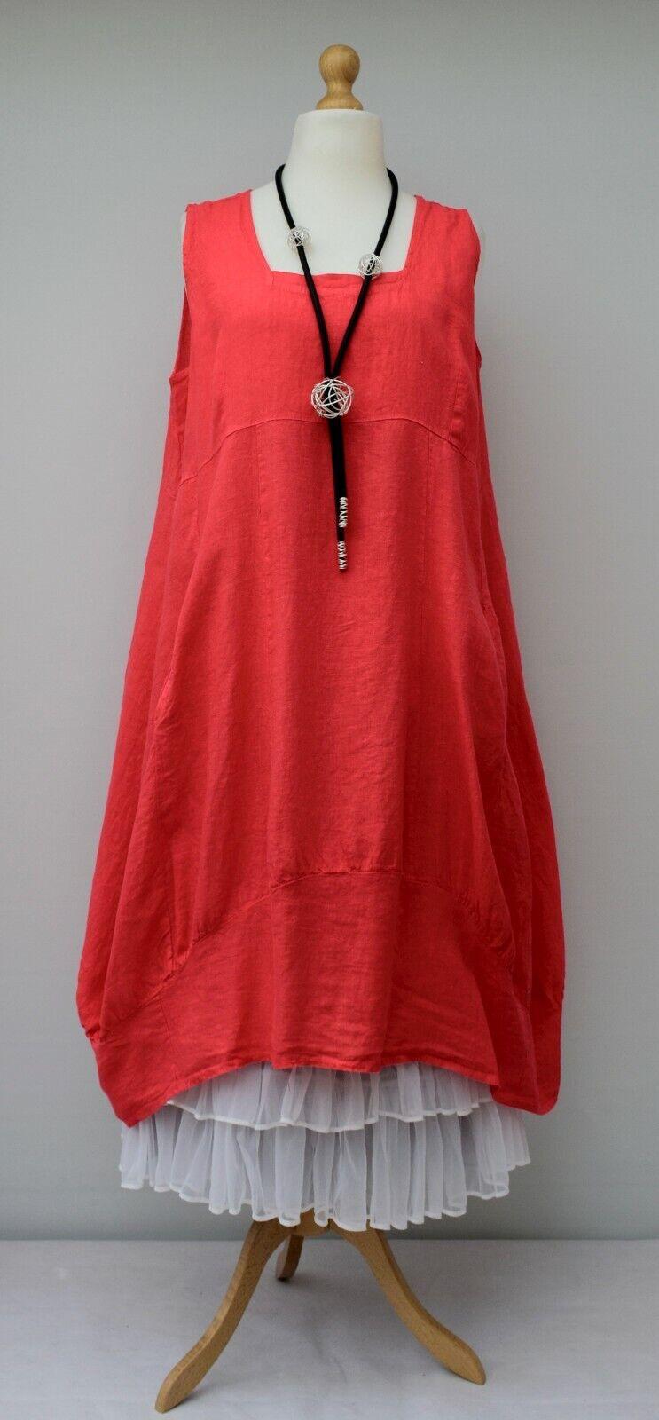 PLUS SIZE LINEN OVERSIZED PLAIN 2 POCKETS LONG DRESS**RED** XL-XXL BUST 52-54