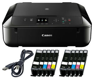 Set-Canon-Pixma-MG-5750-DRUCKER-SCANNER-KOPIERER-WLAN-10x-XL-TINTE-USB