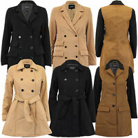 Ladies Jacket Brave Soul Womens Coats Wool Mix Double Breasted Lined Winter