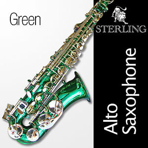Green-Alto-Sax-Brand-New-STERLING-Eb-Saxophone-Case-and-Accessories