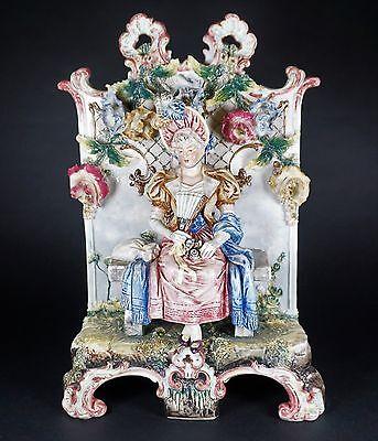 RARE French Barbotine Majolica Figural Vase Jardiniere 19th Century Seated Lady