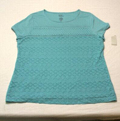 Womens Croft /& Barrow Top NEW Blue /& Turquoise Shirt Short Sleeve Blouse Large