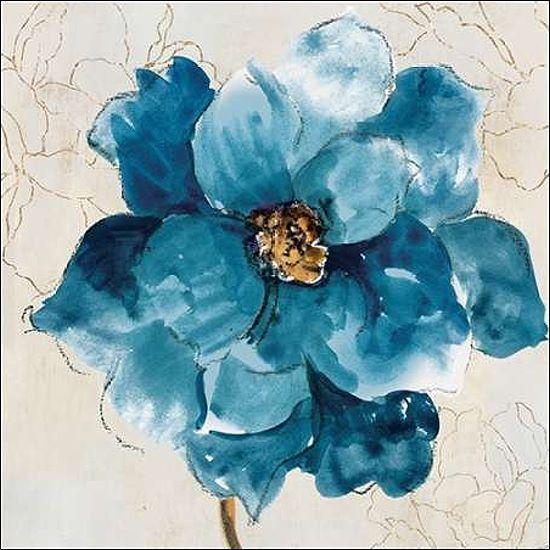 Asia Jensen  Ophelia I Keilrahmen-Bild Leinwand Blaumen blau modern Blüte