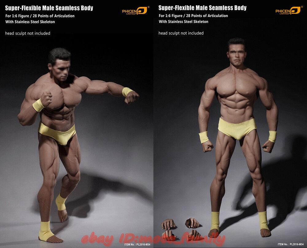 HOT   Phicen TBLeague PL2016-M34 1 6 6 6 Flexible Seamless Male Super Muscular Body b2258c
