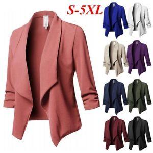 abb7c55e61 Plus Size Women Waterfall Cardigan Ladies 3/4 Sleeve Blazer Suit ...