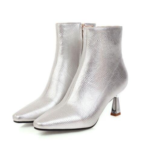 Trendy Women/'s Pointy Toe Kitten Heel Zipper Up Smart Office Work OL Ankle Boots