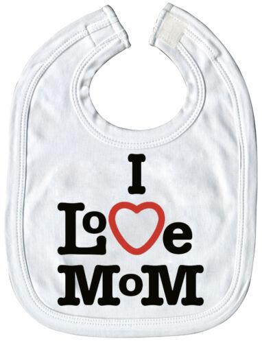 07043 Lätzchen I love Mom auch rosa hellblau Druck hochwertige Qualität