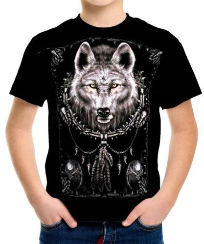Wolf Spirit Boys Kid Youth T-Shirts Tee Age 3-13 ael40581