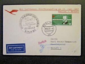Germany-DDR-1957-Berlin-Erfurt-Flight-Cover-Z4712