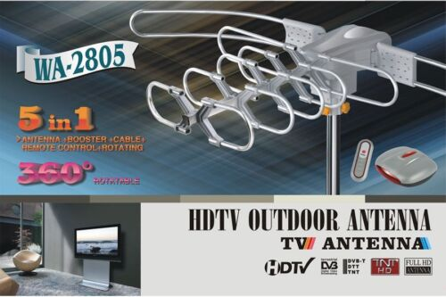 DIGITAL HD HDTV ROTOR CABLE DTV OUTDOOR AMPLIFIED ANTENNA REMOTE 360° UHF//VHF//FM