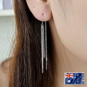 New-Genuine-925-Sterling-Silver-Long-Tassels-Chain-Thread-Threader-Stud-Earrings