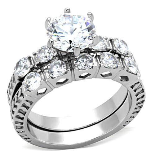 8MM Round Shape Wedding Engagement Rhodium EP Ladies Ring Set