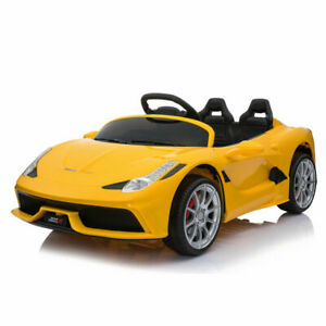 12V Luxury Kids Ride on Super Sports Car Electric Battery Remote Control Yellow
