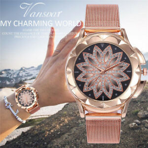 Rose-Gold-Crystal-Flower-Women-Watches-Ladies-Quartz-Stainless-Steel-Mesh-Watch