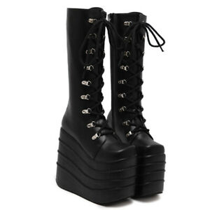 2019-Womens-Pumps-Hot-16cm-High-Heel-Gothic-Boots-Knee-High-Occident-Fashion-sz