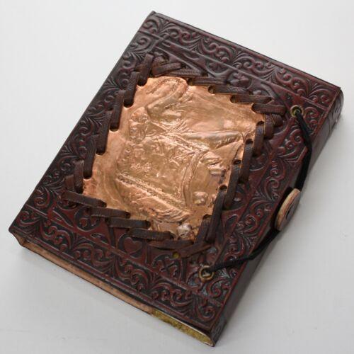 Lederbuch Elefant Kupfer Platte umflochten Kladde Notizbuch Tagebuch Buch Leder