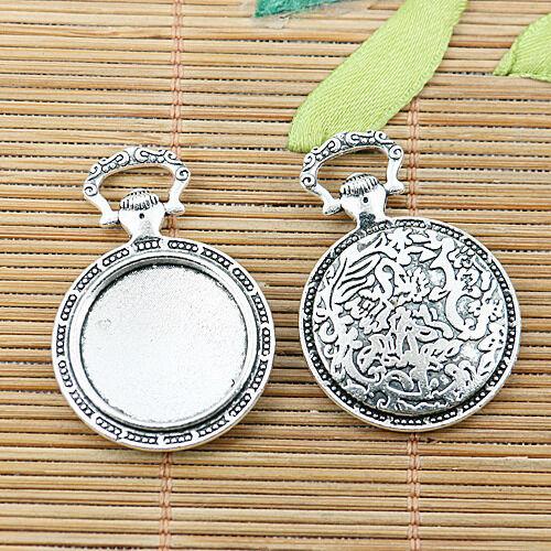 6pcs tibetan silver color round cabochon settings EF2464