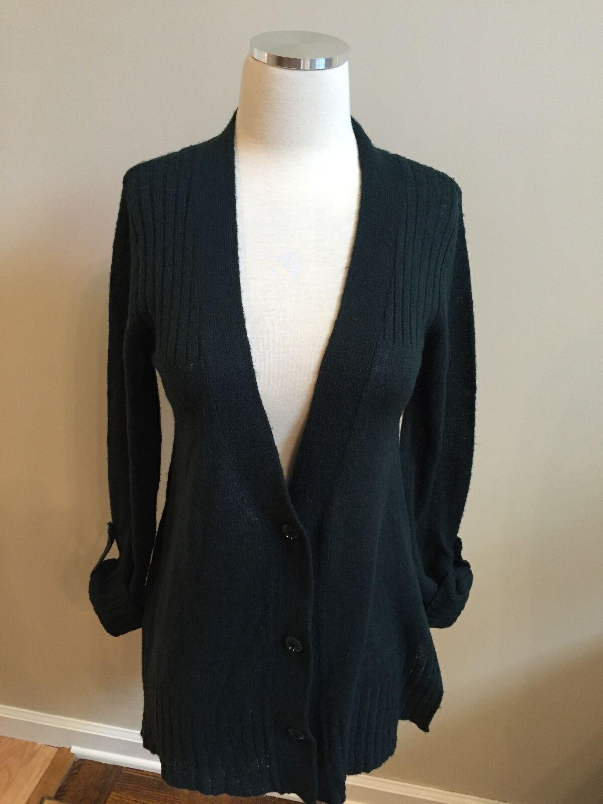 NWT Coldwater Creek Dark Dark Dark Teal bluee Roll Tab Sleeve Boyfriend Cardigan Sweater XS 325795