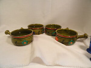 Georges-Briard-Avocado-Flowered-Handled-Soup-Bowls-Set-of-4-Mid-Century-Mod