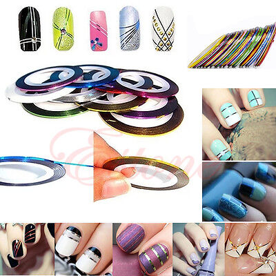 10Pcs Rolls Striping Tape Line Nail Art Decor Sticker UV Gel Tips Mixed Colors