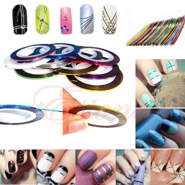 10Pcs Rolls Striping Tape Line Nail Art Decor Sticker UV Gel Tips Mixed Colors