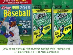 2019-Topps-HERITAGE-HIGH-NUMBER-MLB-BB-Cards-1-BLASTER-2-FAT-PACKS-Combo-Set
