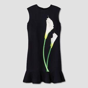 e71e6015a5 Women s Black Calla Lily Satin Ruffle Hem Dress - Victoria Beckham ...