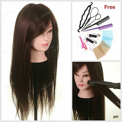 "24"" 50% Human Hair Training practice Hairdressing Head Mannequin Braid Tool Doll"