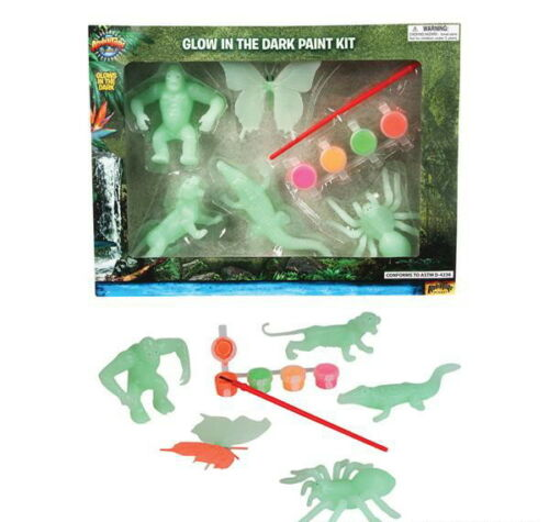 3 SETS 10 PIECE EA.GLOW IN THE DARK ANIMAL JUNGLE PAINT PARTY ACTIVITY GIFT IDEA