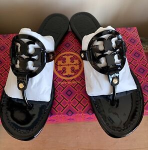 Tory Burch Miller Black Patent Leather Thong Sandals Flip Flop Logo Sz 8 M NEW!!