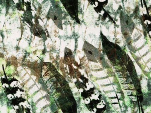 Digitaldruck Blätter Baumwoll-Jersey 160cm weiß-grün